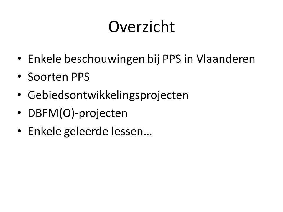 Overzicht Enkele beschouwingen bij PPS in Vlaanderen Soorten PPS