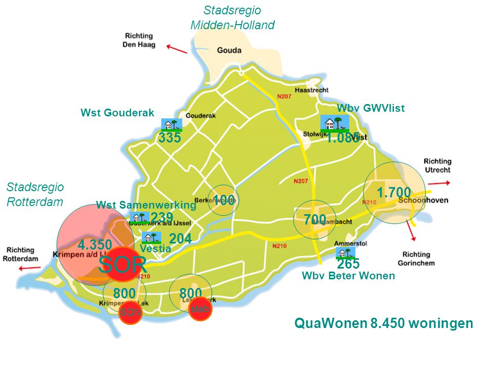 Stadsregio Midden-Holland. Wbv GWVlist. Wst Gouderak. 335. 1.085. 1.700. Stadsregio. Rotterdam.