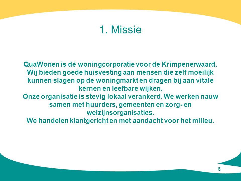 1. Missie QuaWonen is dé woningcorporatie voor de Krimpenerwaard.