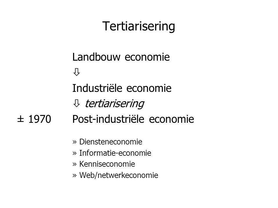 Tertiarisering Landbouw economie  Industriële economie