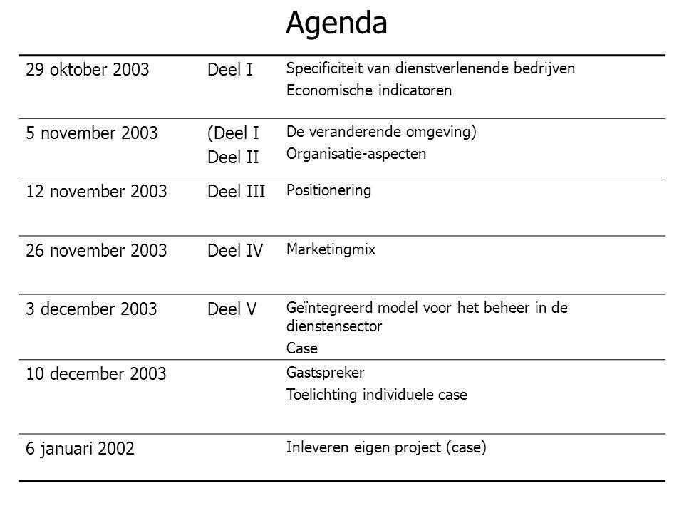 Agenda 29 oktober 2003 Deel I 5 november 2003 (Deel I Deel II