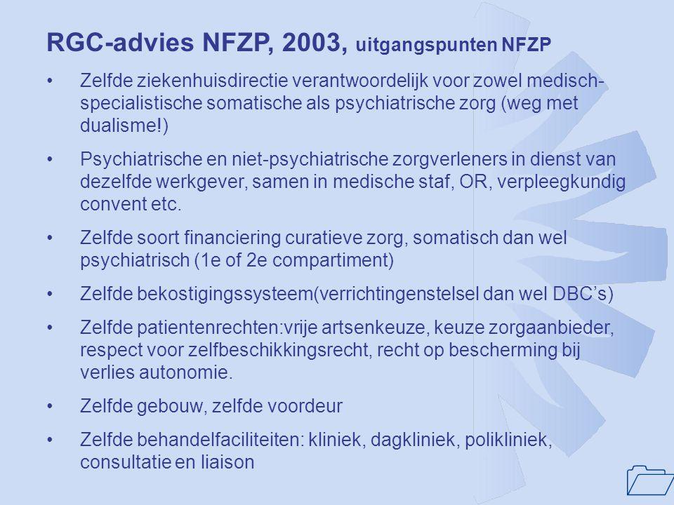 RGC-advies NFZP, 2003, uitgangspunten NFZP