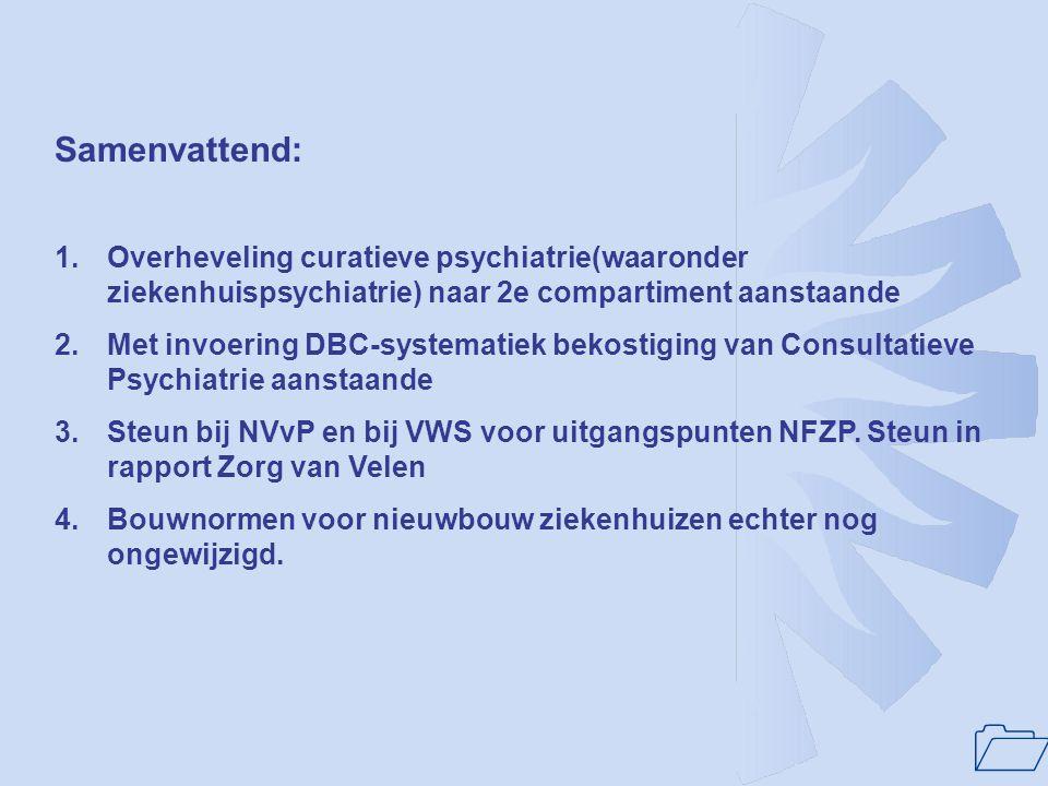 Samenvattend: Overheveling curatieve psychiatrie(waaronder ziekenhuispsychiatrie) naar 2e compartiment aanstaande.
