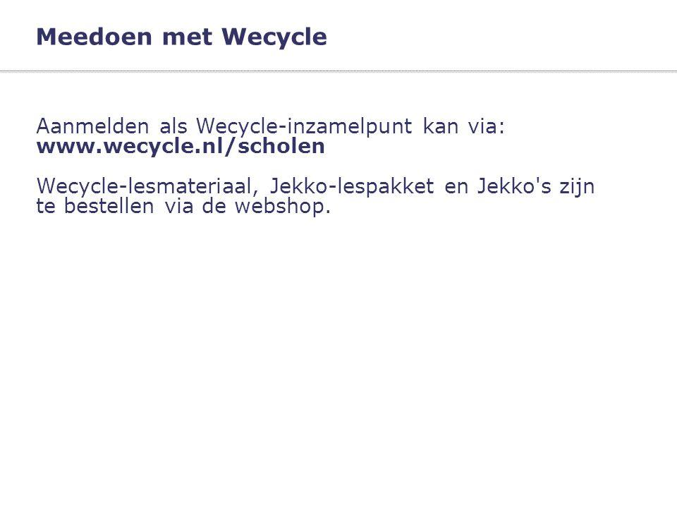 Meedoen met Wecycle Aanmelden als Wecycle-inzamelpunt kan via: www.wecycle.nl/scholen.