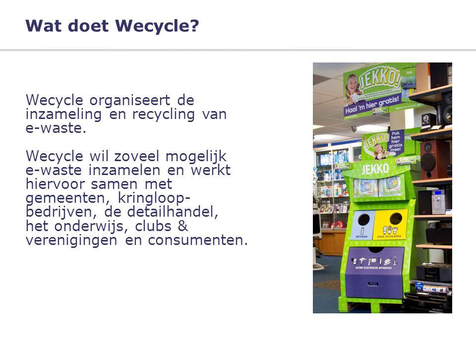 Wat doet Wecycle Wecycle organiseert de inzameling en recycling van
