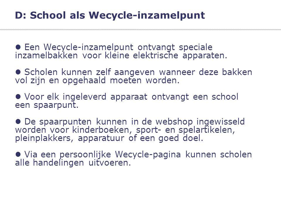D: School als Wecycle-inzamelpunt
