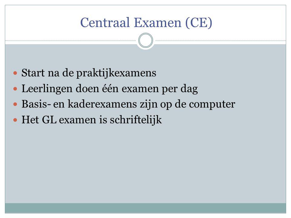 Centraal Examen (CE) Start na de praktijkexamens