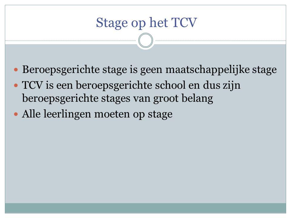 Stage op het TCV Beroepsgerichte stage is geen maatschappelijke stage