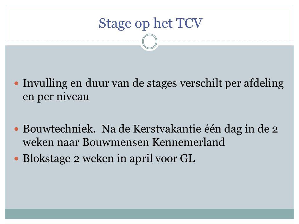 Stage op het TCV Invulling en duur van de stages verschilt per afdeling en per niveau.