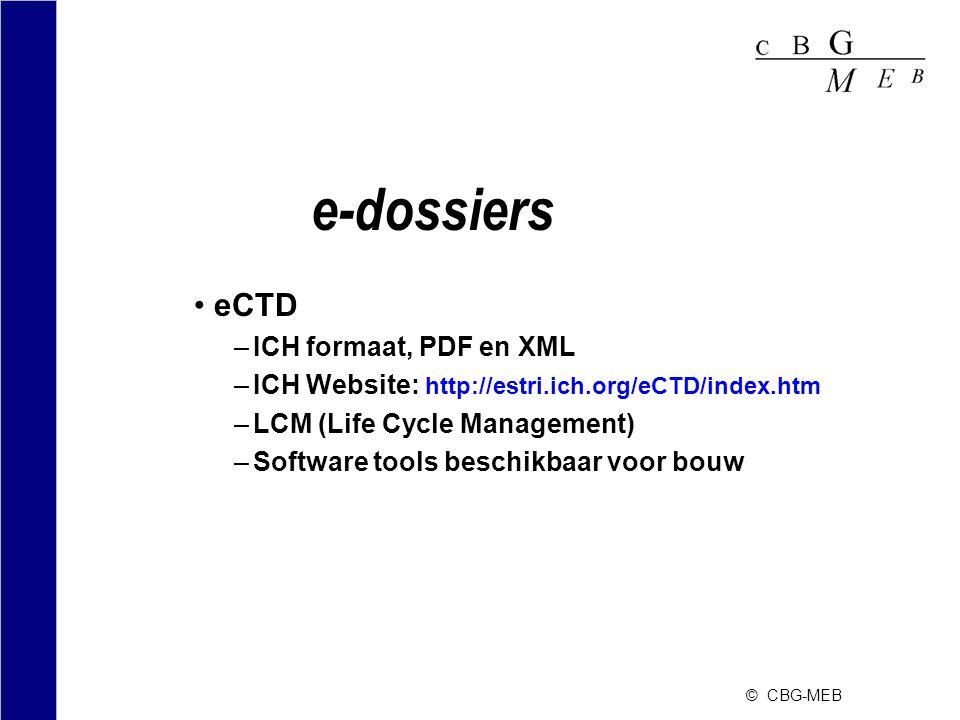 e-dossiers eCTD ICH formaat, PDF en XML