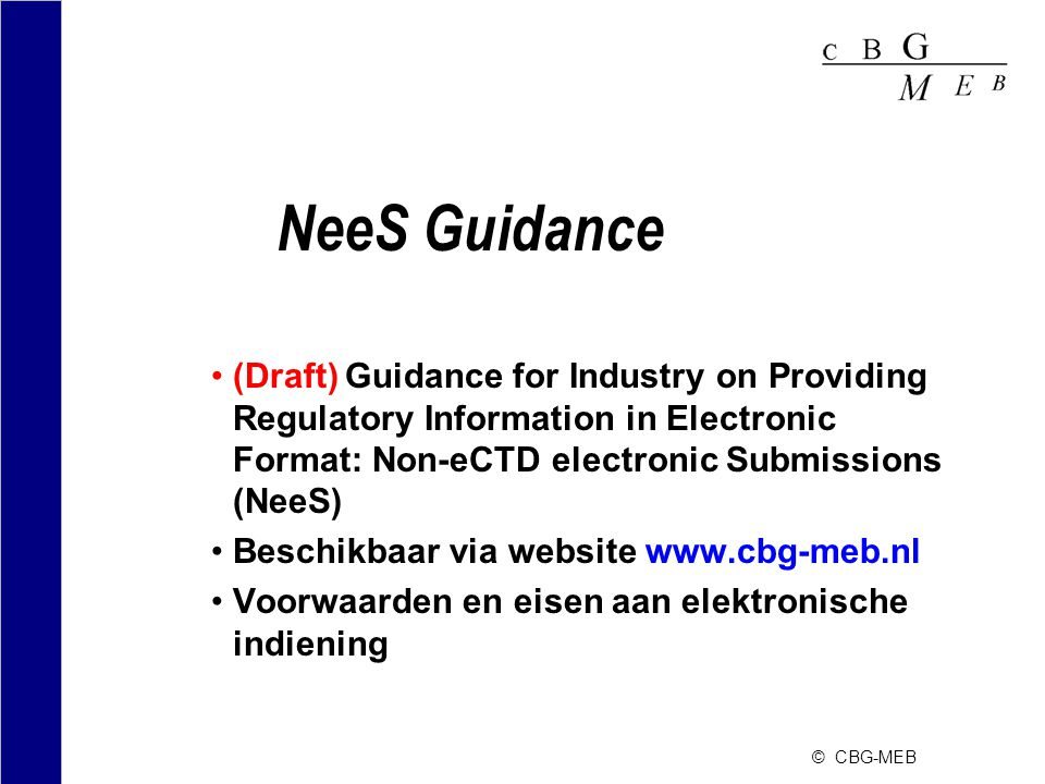 NeeS Guidance (Draft) Guidance for Industry on Providing Regulatory Information in Electronic Format: Non-eCTD electronic Submissions (NeeS)