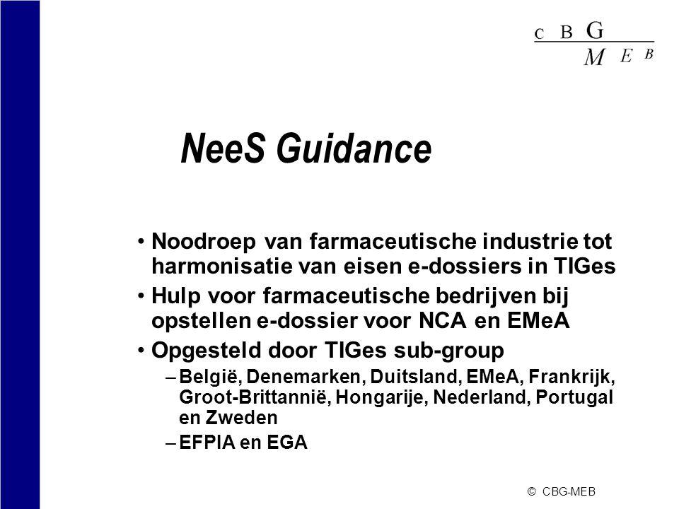 NeeS Guidance Noodroep van farmaceutische industrie tot harmonisatie van eisen e-dossiers in TIGes.