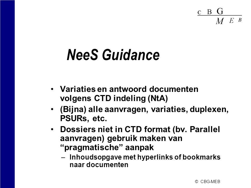 NeeS Guidance Variaties en antwoord documenten volgens CTD indeling (NtA) (Bijna) alle aanvragen, variaties, duplexen, PSURs, etc.