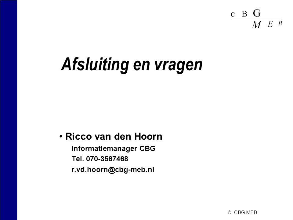Afsluiting en vragen Ricco van den Hoorn Informatiemanager CBG