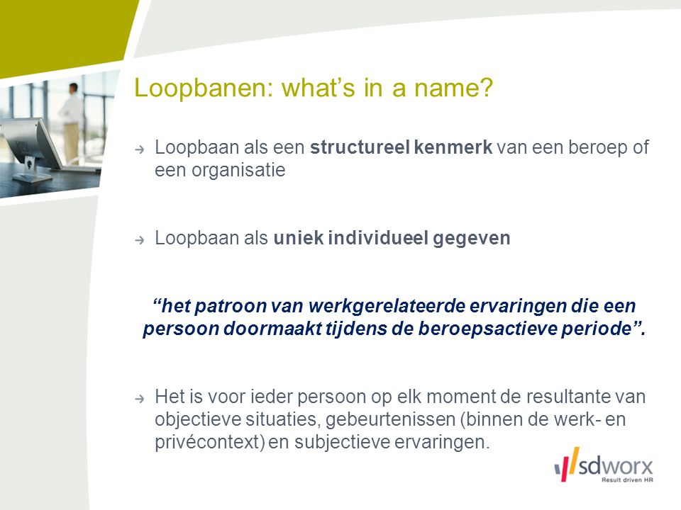 Loopbanen: what's in a name