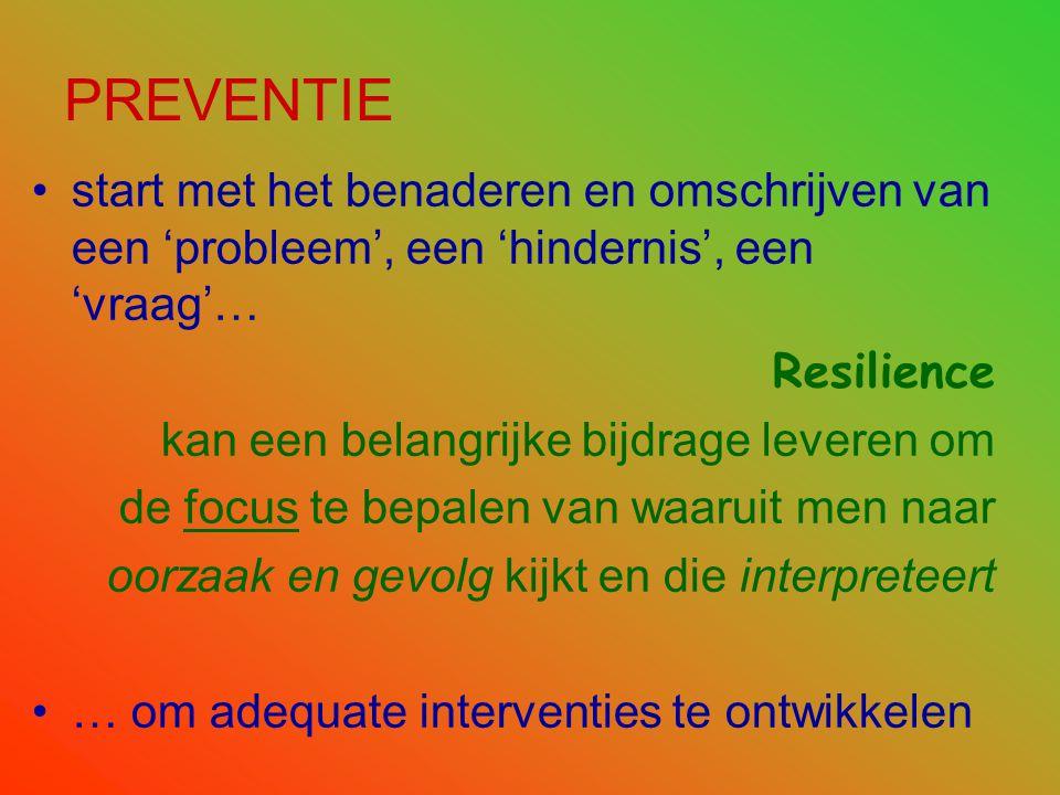 PREVENTIE start met het benaderen en omschrijven van een 'probleem', een 'hindernis', een 'vraag'… Resilience.