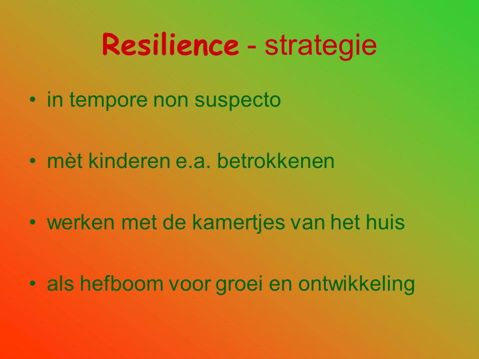Resilience - strategie