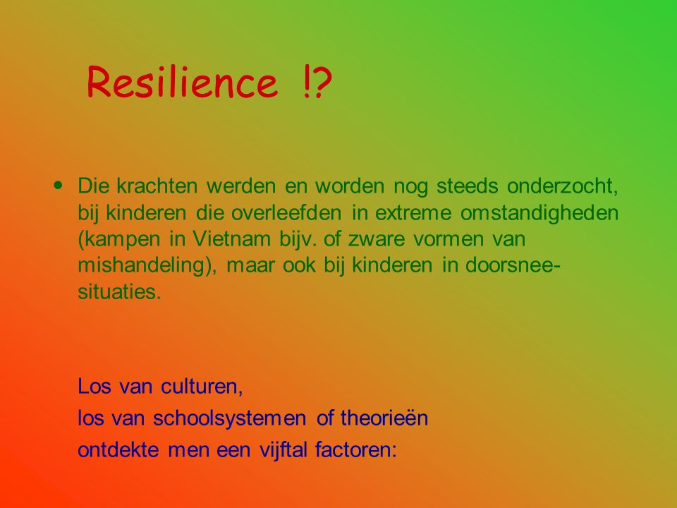 Resilience !
