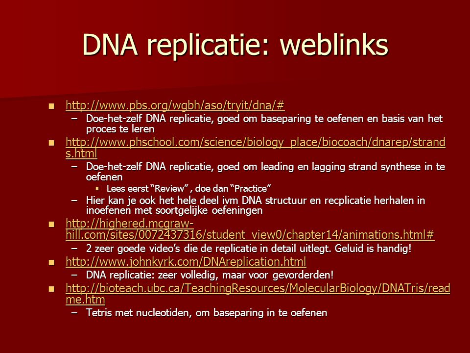 DNA replicatie: weblinks