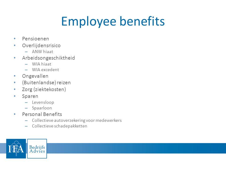 Employee benefits Pensioenen Overlijdensrisico Arbeidsongeschiktheid