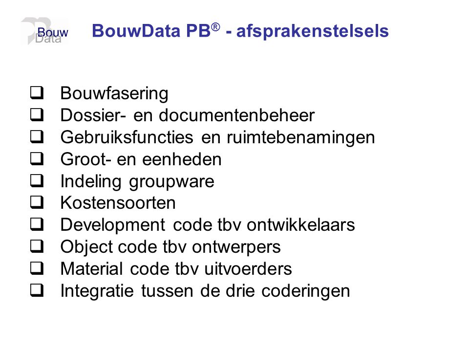 BouwData PB® - afsprakenstelsels