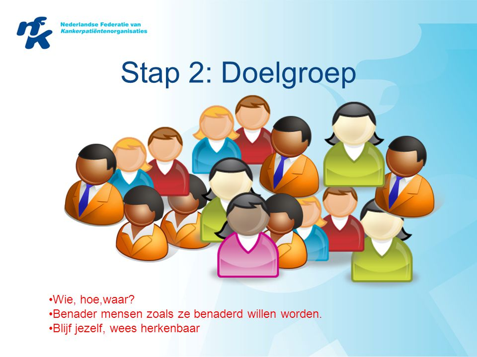 Stap 2: Doelgroep Wie, hoe,waar