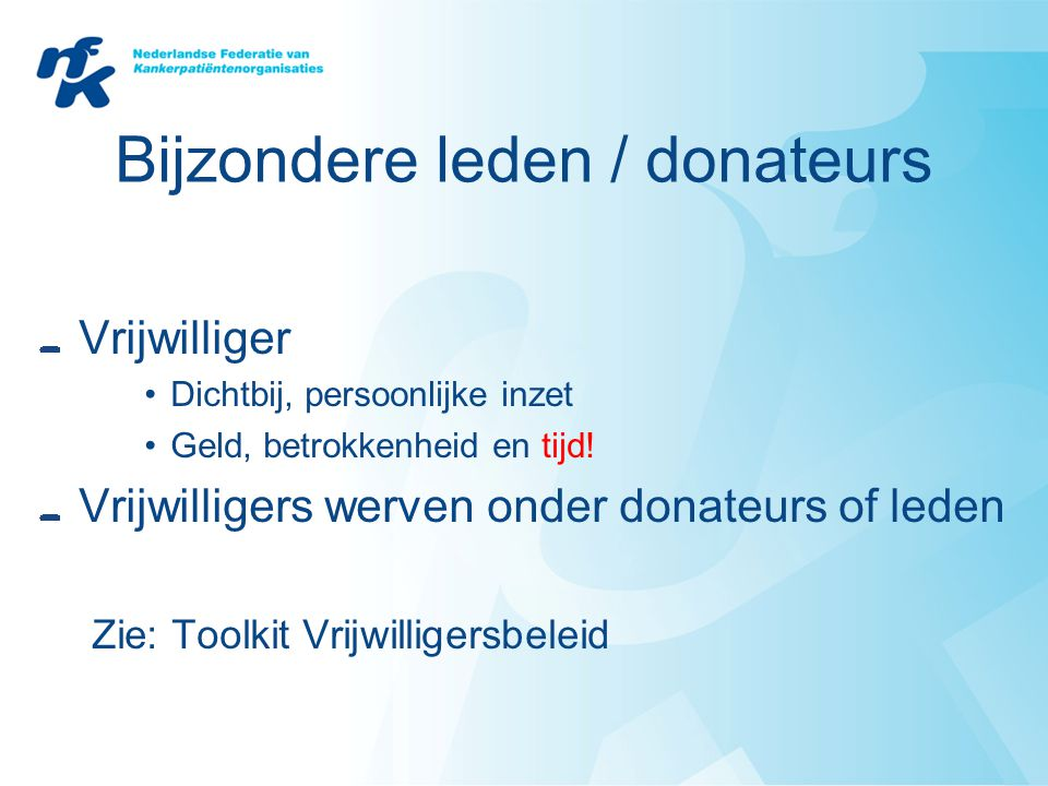 Bijzondere leden / donateurs