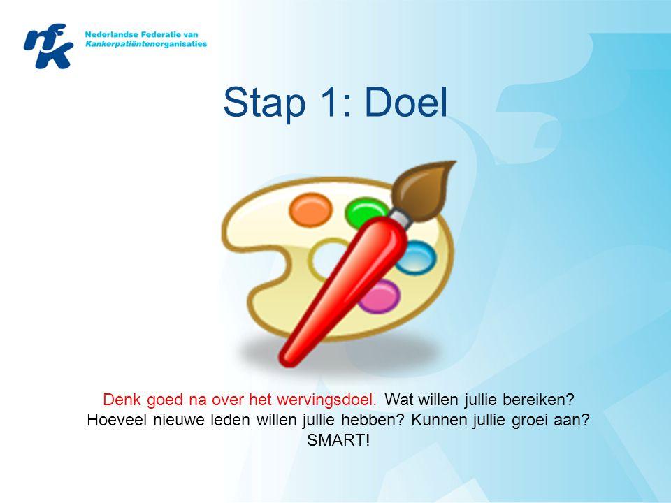 Stap 1: Doel Denk goed na over het wervingsdoel. Wat willen jullie bereiken Hoeveel nieuwe leden willen jullie hebben Kunnen jullie groei aan