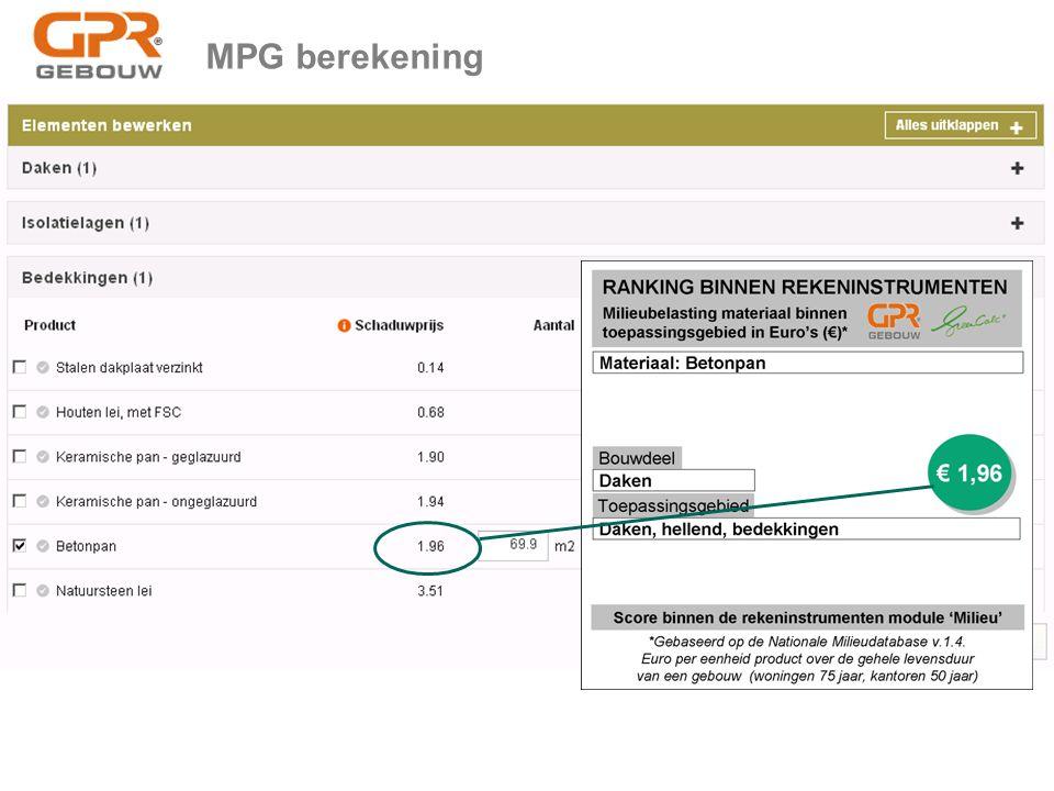 MPG berekening Greenworks is tot stand gekomen na afstemming met Rijksoverheid (Min. BZK) en de rekeninstrumenten GPR Gebouw, Greencalc en Breeam.