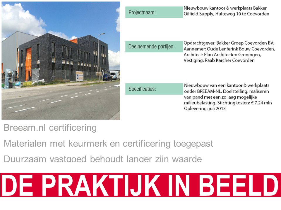 DE PRAKTIJK IN BEELD Breeam.nl certificering