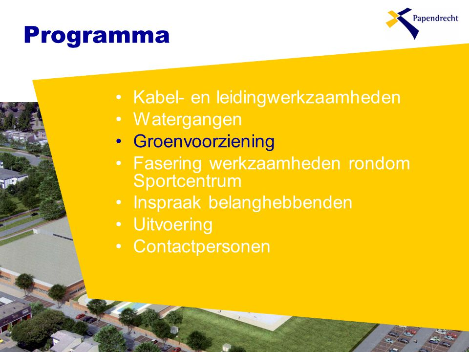 Programma Kabel- en leidingwerkzaamheden Watergangen Groenvoorziening