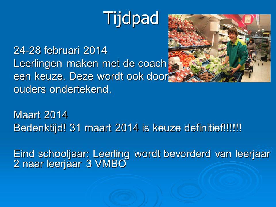 Tijdpad 24-28 februari 2014 Leerlingen maken met de coach