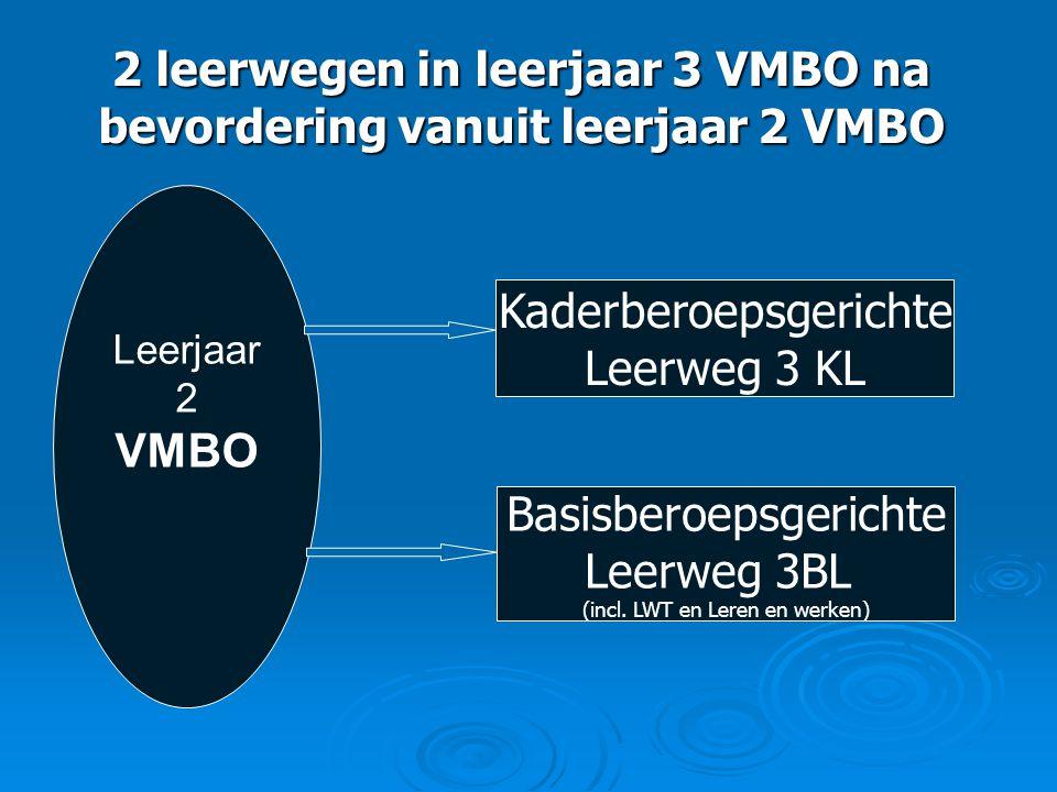 2 leerwegen in leerjaar 3 VMBO na bevordering vanuit leerjaar 2 VMBO