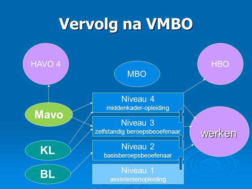 Vervolg na VMBO Mavo werken KL BL HAVO 4 HBO MBO Niveau 4 Niveau 3