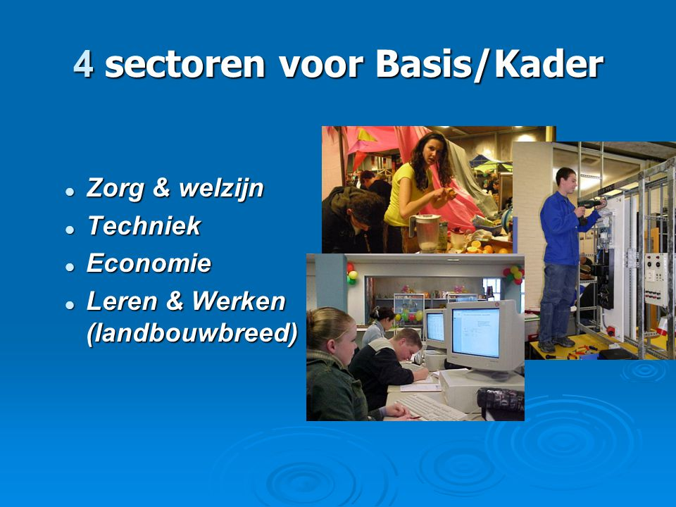 4 sectoren voor Basis/Kader