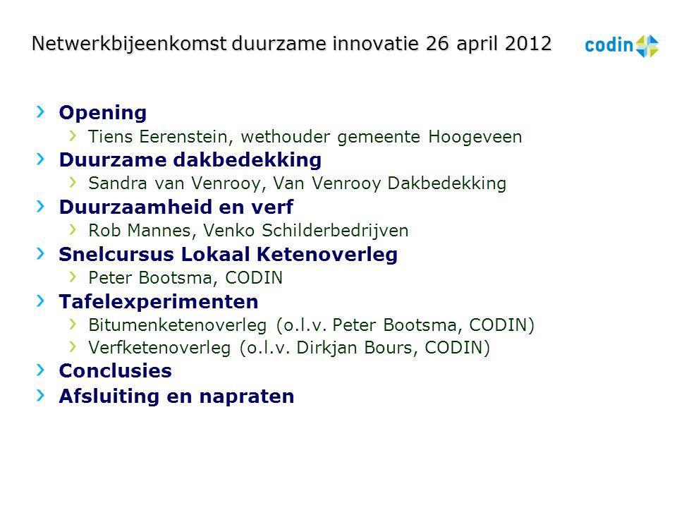 Netwerkbijeenkomst duurzame innovatie 26 april 2012