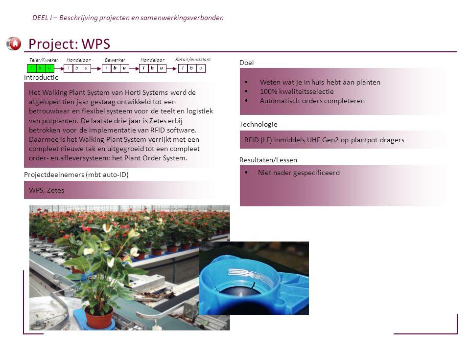 Project: WPS DEEL I – Beschrijving projecten en samenwerkingsverbanden