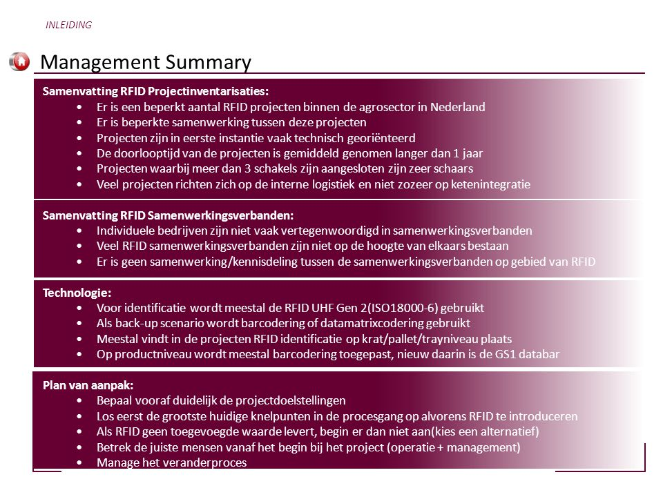 Management Summary Samenvatting RFID Projectinventarisaties: