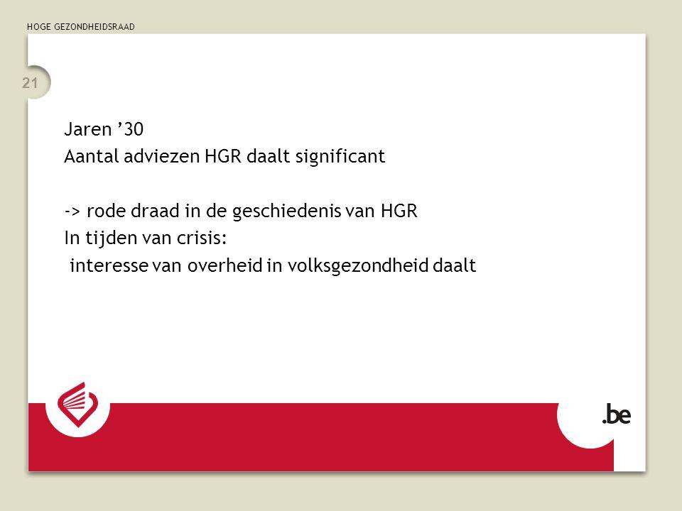 Jaren '30 Aantal adviezen HGR daalt significant. -> rode draad in de geschiedenis van HGR. In tijden van crisis: