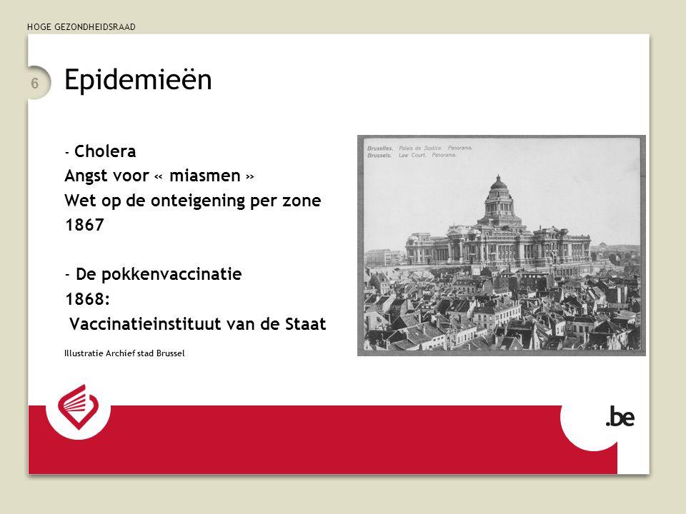 Epidemieën Angst voor « miasmen » Wet op de onteigening per zone 1867
