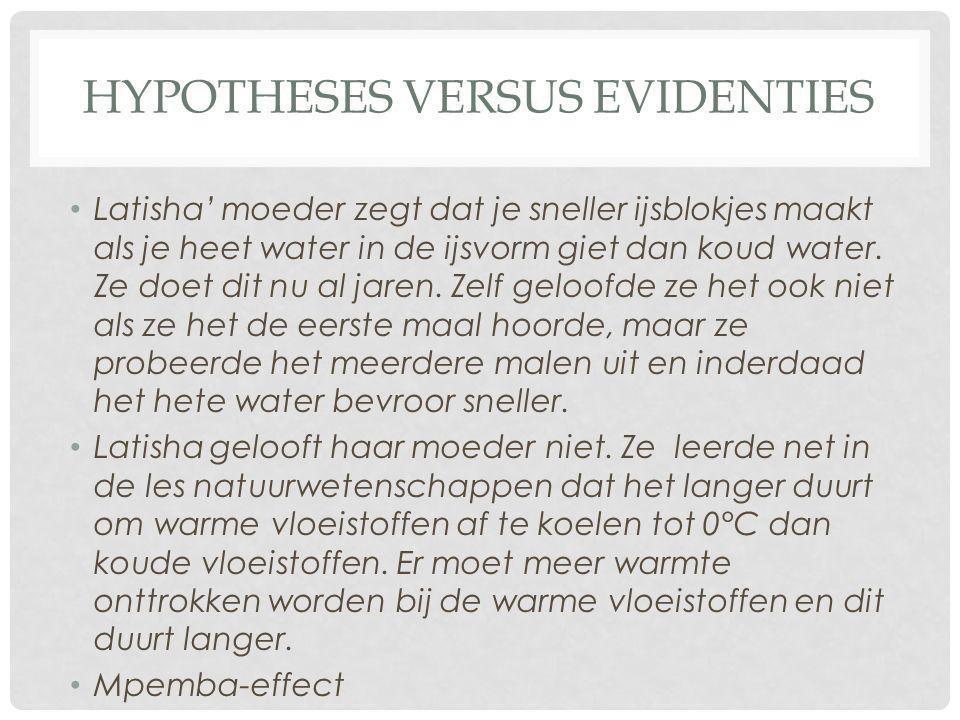 Hypotheses versus evidenties