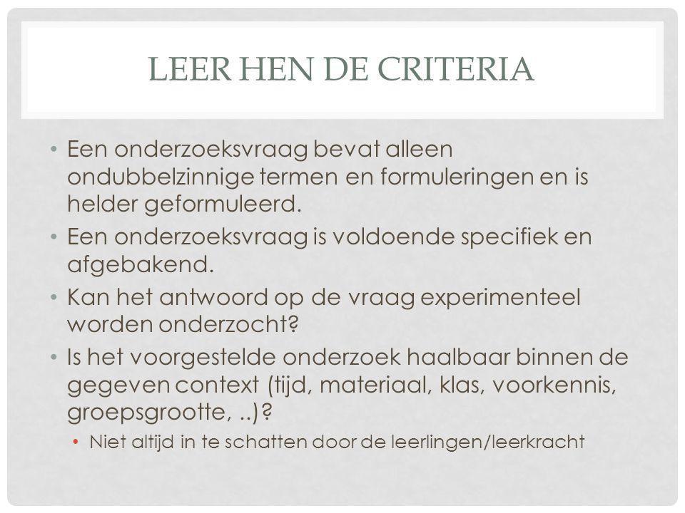 Leer hen de Criteria Een onderzoeksvraag bevat alleen ondubbelzinnige termen en formuleringen en is helder geformuleerd.
