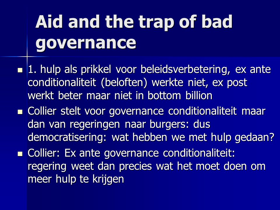 Aid and the trap of bad governance