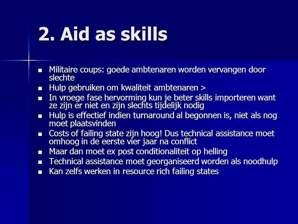 2. Aid as skills Militaire coups: goede ambtenaren worden vervangen door slechte. Hulp gebruiken om kwaliteit ambtenaren >