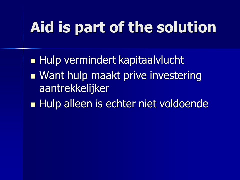 Aid is part of the solution