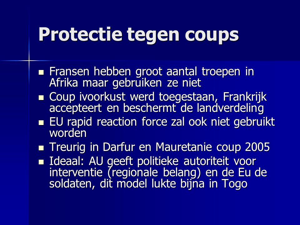 Protectie tegen coups Fransen hebben groot aantal troepen in Afrika maar gebruiken ze niet.