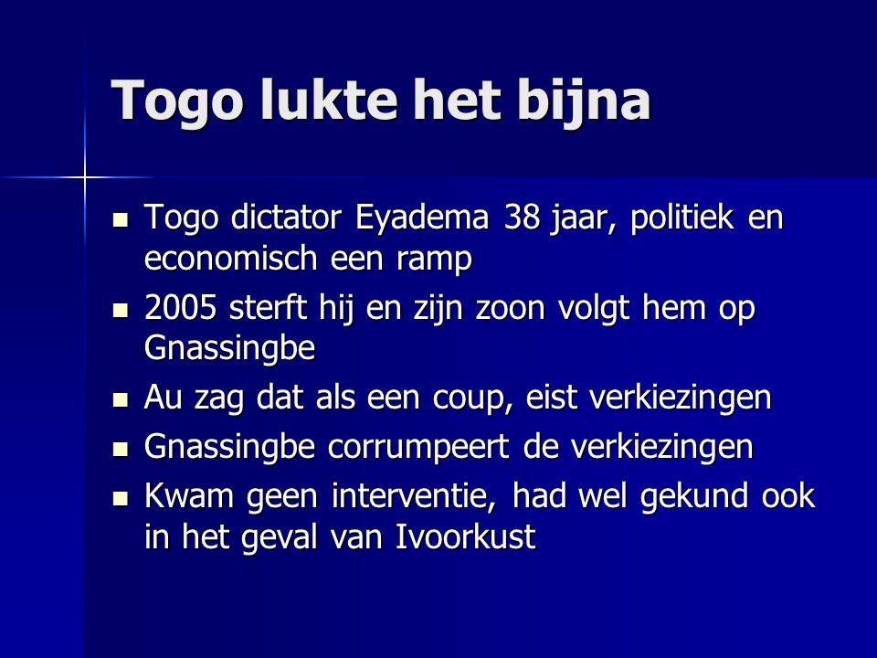 Togo lukte het bijna Togo dictator Eyadema 38 jaar, politiek en economisch een ramp. 2005 sterft hij en zijn zoon volgt hem op Gnassingbe.