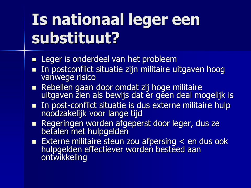 Is nationaal leger een substituut