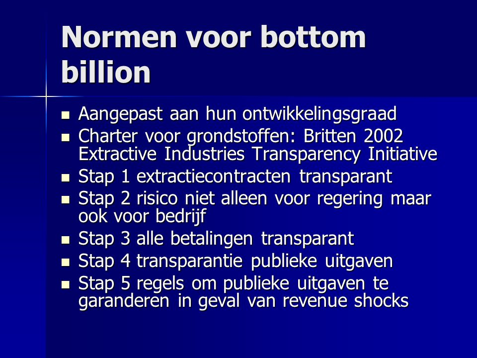 Normen voor bottom billion