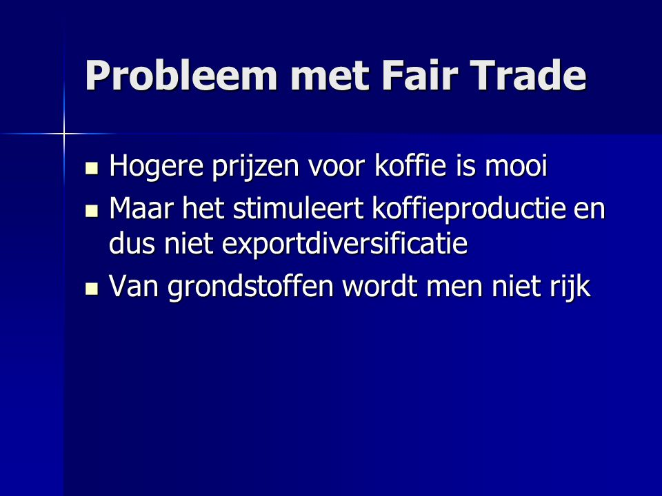 Probleem met Fair Trade